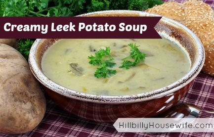 Leek Potato Soup | Hillbilly Housewife. Yummy soup, perfect on a cold ...