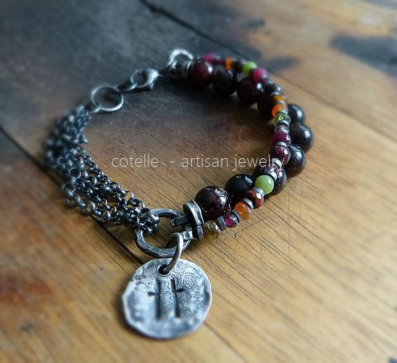 Garnet Bracelet and Raw Sterling Silver  Artisan by COTELLE
