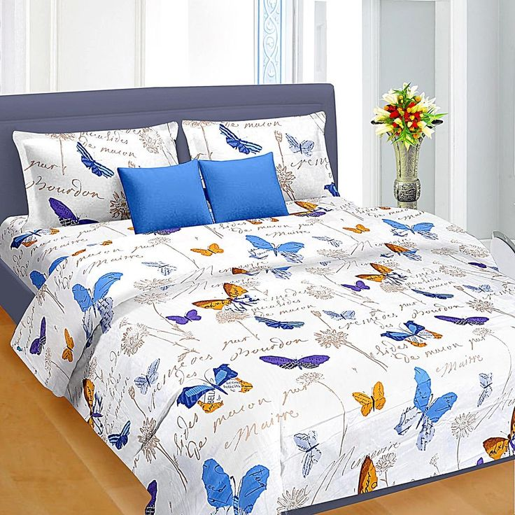 Blue   Orange Floral Pattern Double Bed Sheet   king size double bed sheets  online india  buy bed sheets online at low price  bedsheet  homedecor. Blue   Orange Floral Pattern Double Bed Sheet   king size double