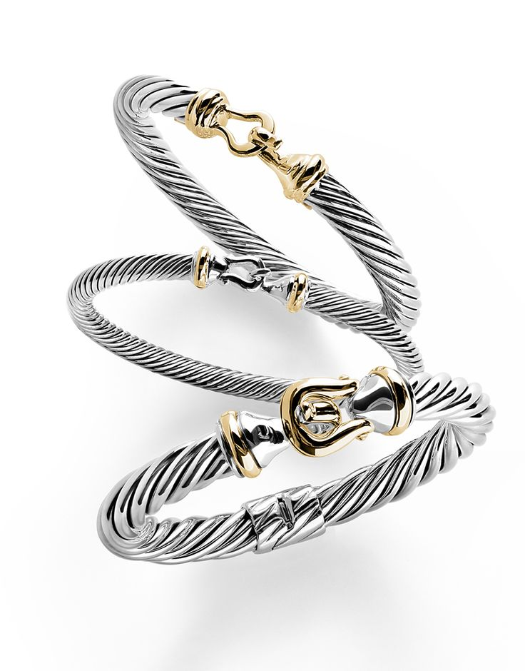 cable buckle bracelets with 18k gold