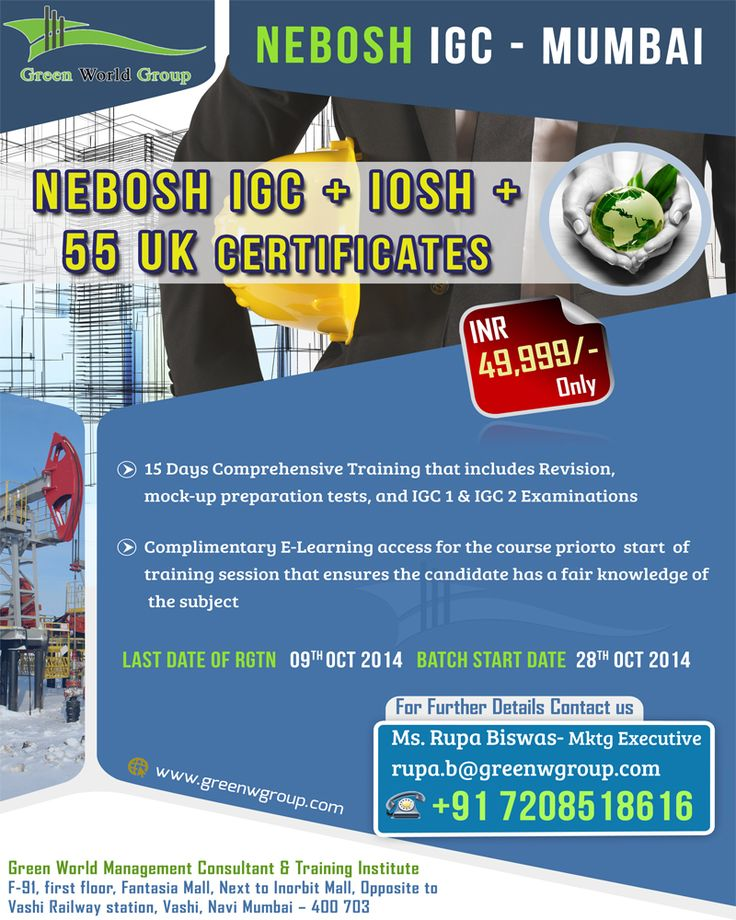 Green World Group Provides Special Discount Offer For Nebosh Training In Mumbai At 49999 INR Only And Get IOSH Managing Safely Coshh Rish Assessment