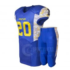 Top Quality American Youth Football Uniforms Manufacturers, Sublimation Printed American Football Uniform Made of 100% Polyester.