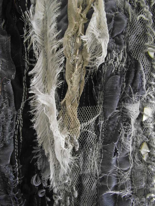 Distressed Textiles Design with stitch detail, mixed fabric layers and frayed edges to create texture - fabric manipulation; surface creation // Laura Edgar