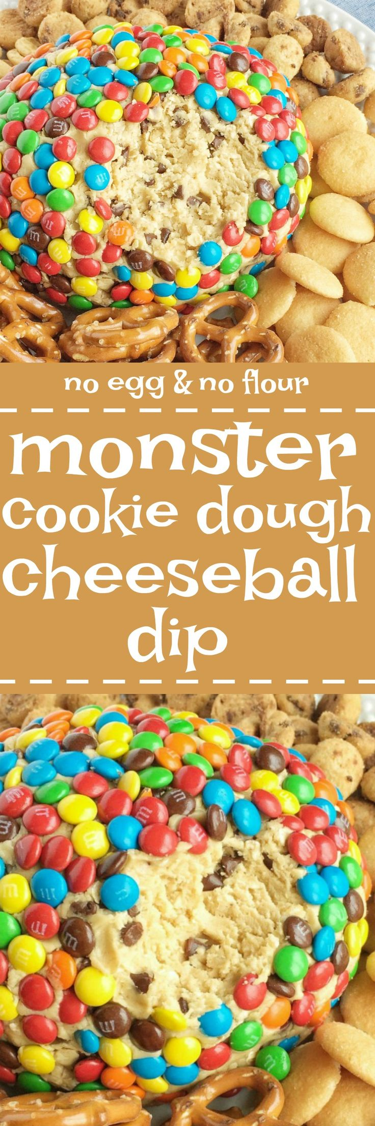 Monster cookie dough cheeseball dip has no eggs and no flour! Everything you love about monster cookies; oats, peanut butter, chocolate chips, and m&m's but in a fun and tasty cheeseball. Serve with pretzels, graham crackers, and cookies