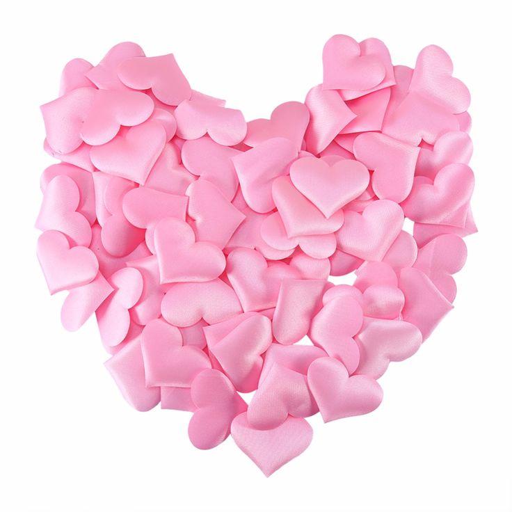 Søde og store lyserøde stof hjerter til din borddækning til bryllup, babyshower og barnedåb.