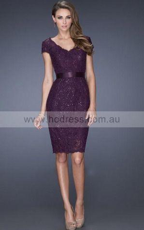 Lace V-neck Natural Sheath Short Evening Dresses abaa1012--Hodress