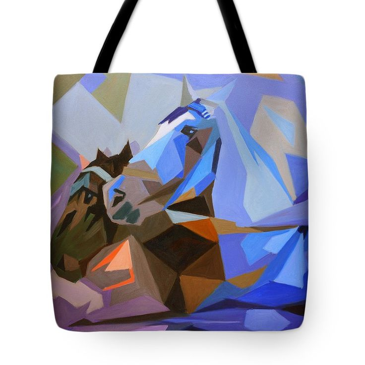Category lifestyle: tote bag with cubist oil painting of horses by Dusan Balara