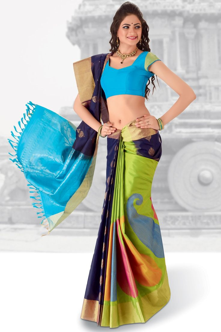 Mesmerizing #Green & Navy Blue combo weaved pure #silk saree in #golden saree border & light blue plain blouse in golden border along with Light Blue & Navy #Blue combo weaved pallu to give you a #pretty look