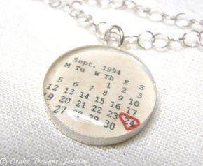 Calendario personalizado collar... Primer aniversario Regalos