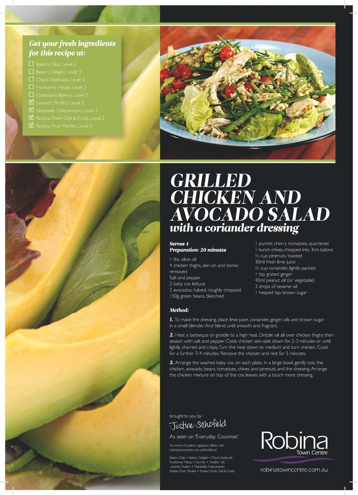 Justine Schofield's Grilled Chicken and Avocado Salad