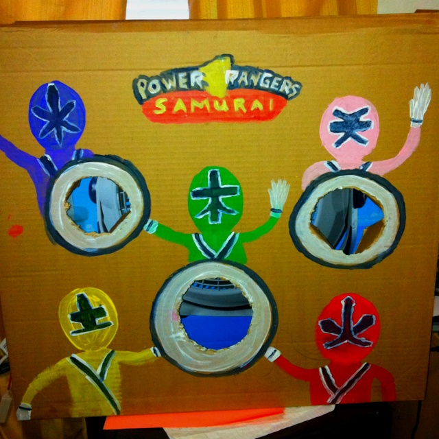 Power ranger bean bag toss made from cardboard box and paint for my son's birthday party!!