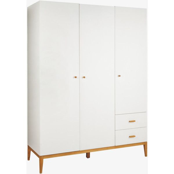 Tatsuma White And Ash 3 Door Wardrobe (1 520 AUD) ❤ liked on Polyvore featuring home, furniture, storage & shelves, armoires, white and ash, ash furniture, 3 door armoire, lacquer furniture, scandinavian furniture and ash wood furniture