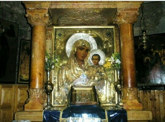 "The wondrous icon of Panagia ""Ierosolymitissa"" (""Lady of Jerusalem""), enthroned in the Holy Tomb of the Theotokos, Gethsemane ( source )"