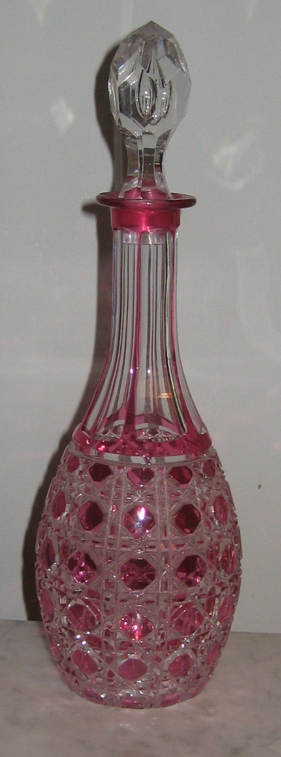Antique Cut to Clear Cranberry Glass Decanter by digideva on Etsy, $150.00