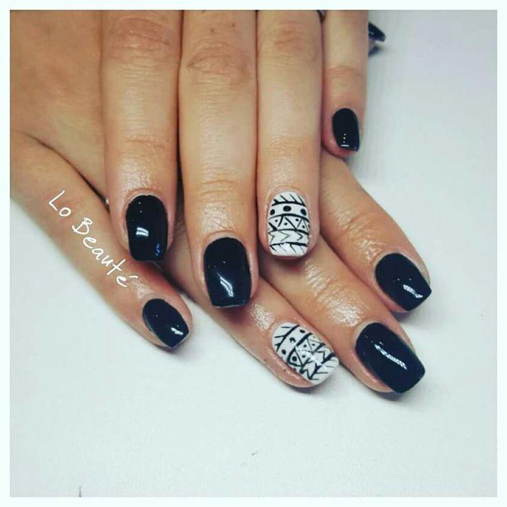 Nailart aztèque, black nails