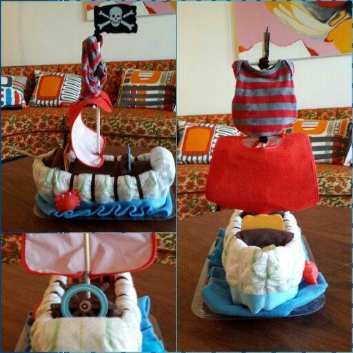 Arrrrgh Matey!!  Pirate Ship Diaper Cake! www.facebook.com/ChloesGarden