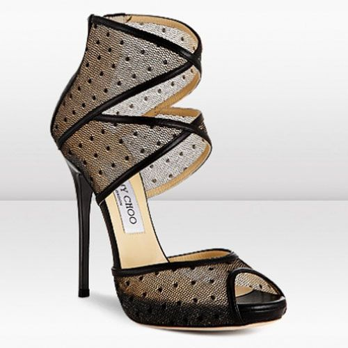 Jimmy Choo Katima 120mm Black Lace Mesh Platform Sandals
