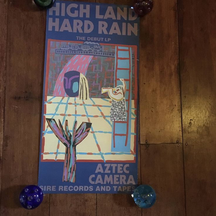 Aztec Camera High land Hard Rain Sire Records 1983 Original Rare Vintage Music Poster by RockPostersTreasures on Etsy