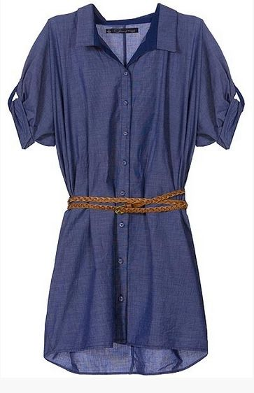 Casual, light and summery belted shirt dress, blue