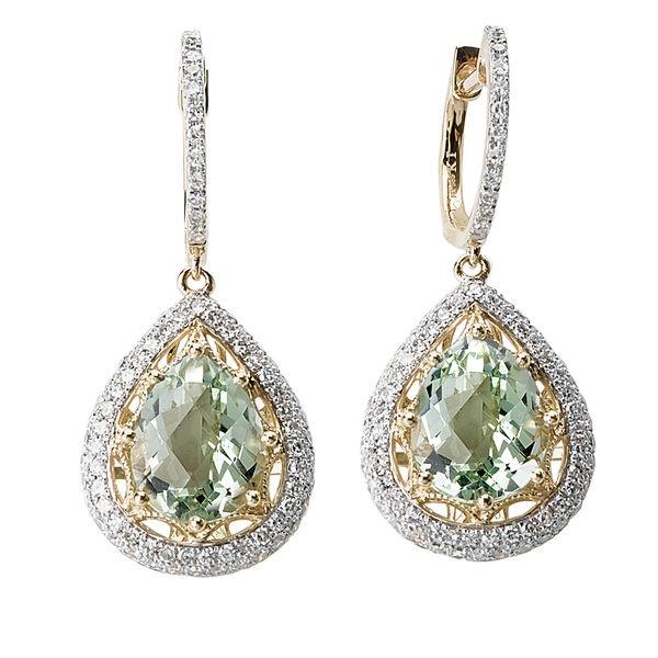 Tivolia Collection 14K Two Tone Pear-Shaped Green Quartz and Diamond Earrings