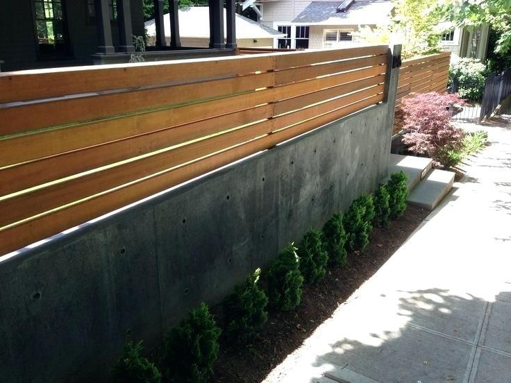Wood Fence On Top Of Concrete Block Wall Supertheory Co In 2020 Modern Fence Design Concrete Retaining Walls Fence Design