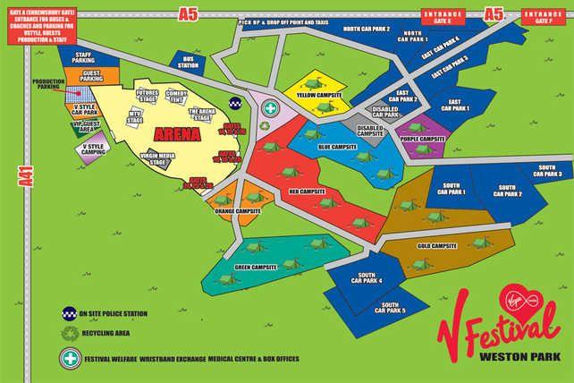 V Festival: Weston Park site map