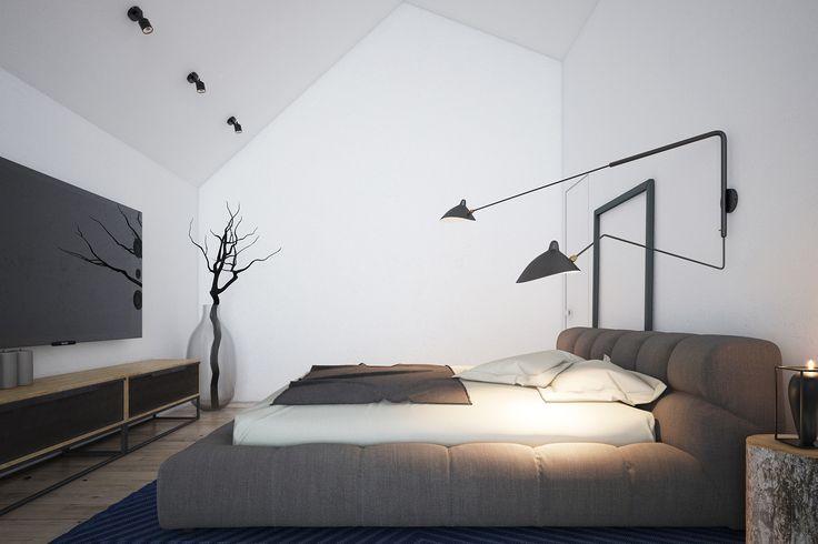 Интерьер спальни в стиле минимализм. Светло-серые тона, технический свет из Франции и большая удобная кровать. Стильно - значит просто.  Интерьер - дизайнеры студии Zooi Киев