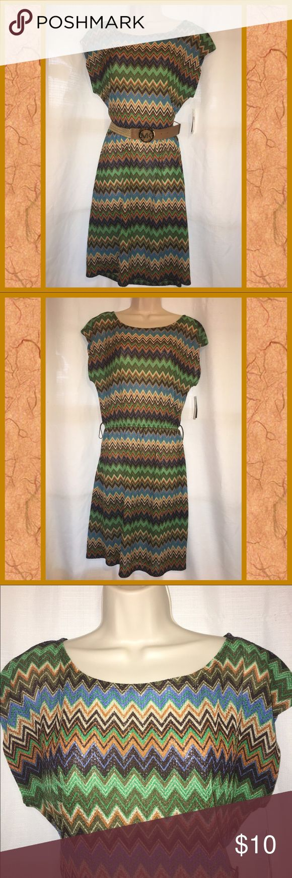 """😺Chevron Print dress😺 😽Size 10 stretchy chevron print dress😽NWT and sheer so it will need a tank or a slip beneath it😽(Belt NFS)😽Looks great with or without a belt😽Bust measurement is 18"""" pit to pit flat😽Retail price is $60😽 A. Byer Dresses"""