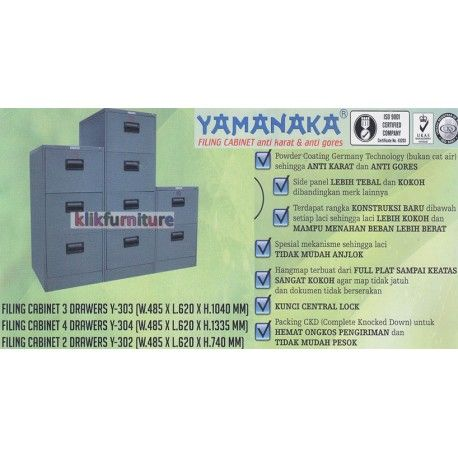 Harga Y-302-303-304 Yamanaka Condition:  New product  Filing Cabinet Besi untuk kantor dan rumah Y-302 Filing Cabinet 2 Susun : W : 485 x L : 620 x H : 740 mm Y-303 Filing Cabinet 3 Susun : W : 485 x L : 620 x H : 1040 mm Y-304 Filing Cabinet 4 Susun : W : 485 x L : 620 x H : 1335 mm Anti karat dan anti gores
