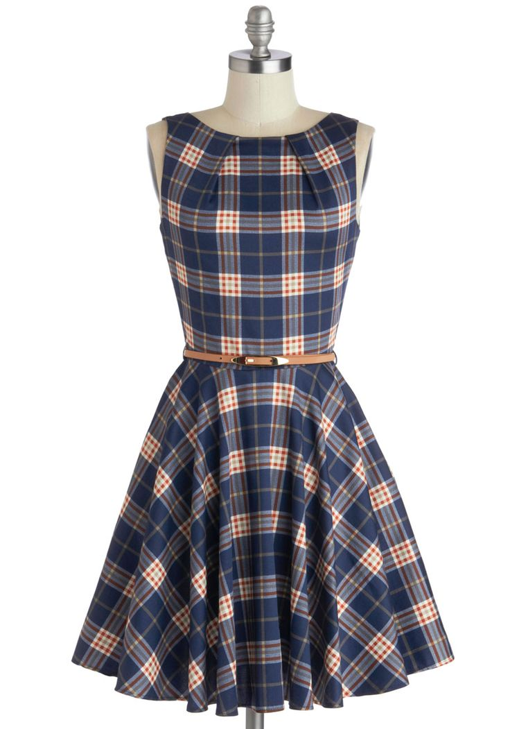 Luck Be a Lady Dress in Scholar, #ModCloth. I love plaid. And these colors are perfect. I love the skirt and waist and how modest it is.