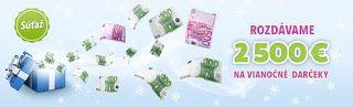 Súťaže, zdieľačky, kupóny, zľavy.: Peňažné výhry v hodnote 2 500 €