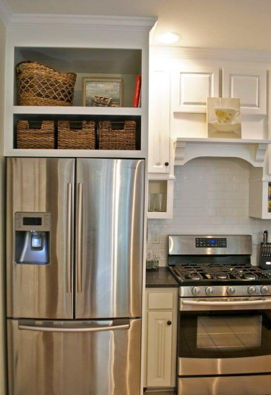 32 kitchen cabinets around refrigerator for more storage for Kitchen cabinets 51