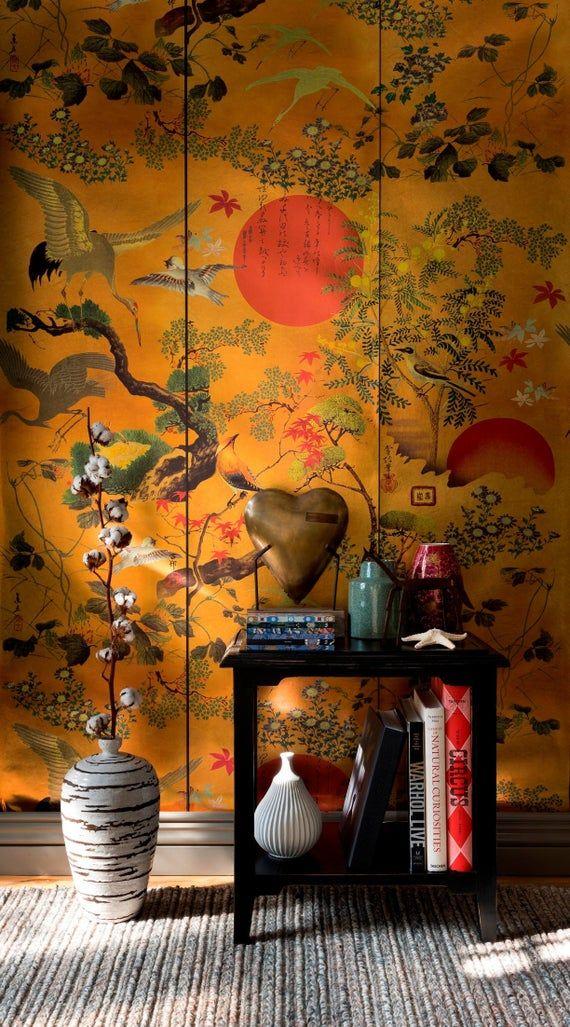 Metallic Wallpaper, Unique Wallpaper, Wallpaper Panels, Wall Wallpaper, Wallpaper Feature Walls, Gold Chinoiserie Wallpaper, Oriental Bedroom, Oriental Decor, Oriental Design