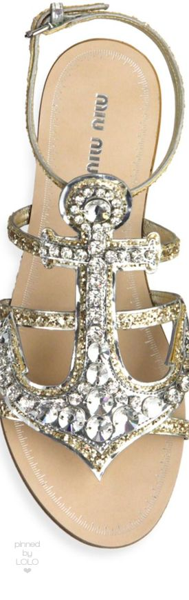 Miu Miu Anchor Crystal Flat Sandals in Silver | LOLO❤︎