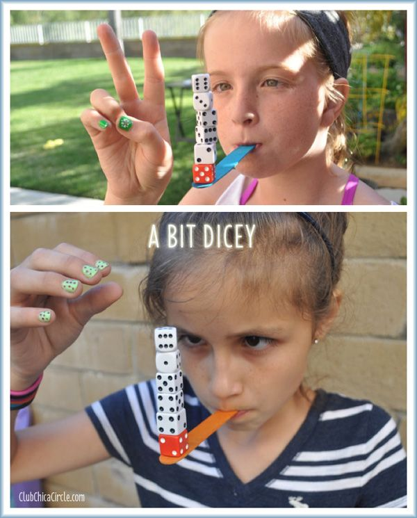 Minute to Win It – Tween Challenge | Tween Craft Ideas for Mom and Daughter While holding a craft stick in your mouth, player must stack 6 dice on top of each other on the end and hold for 3 seconds.