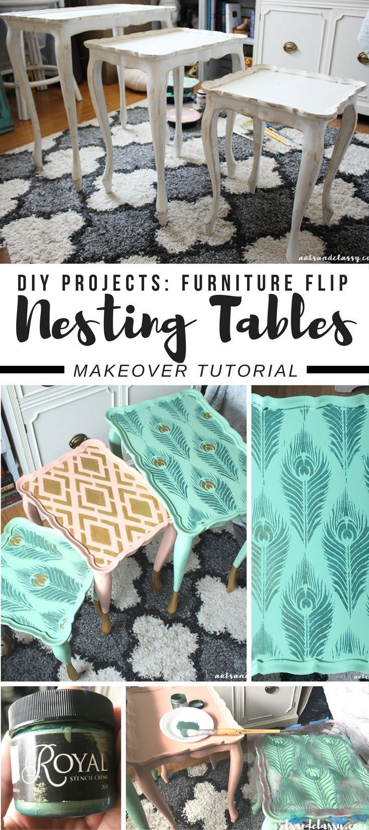 DIY Projects : Nesting Tables Get a Glam Makeover + Tutorial | Arts and Classy