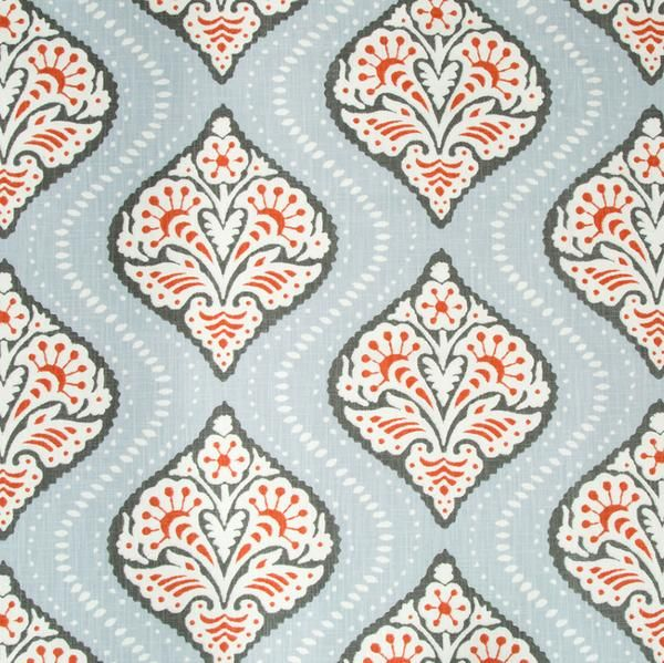 100% Cotton. Ogee Me Damask Print Fabric in Gray. Recommended for throw pillows or window treatments.