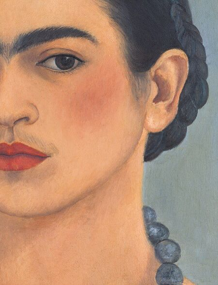 Frida Kahlo: National Homage 1907–2007, by Salomon Grimberg, James Oles, and Raquel Tibol, with an introduction by Carlos Fuentes. Hardcover, 2008   Self Portrait with Necklace (detail)