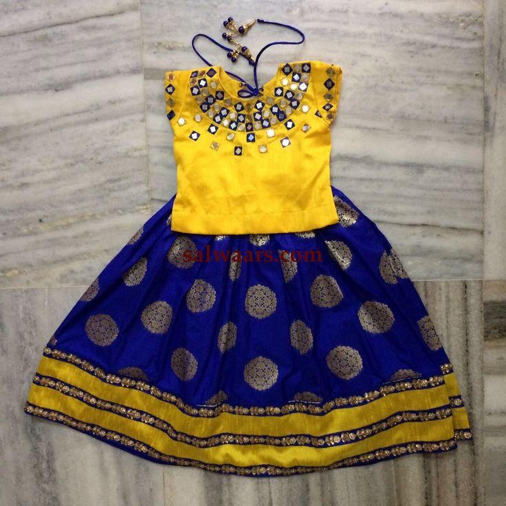 Blue Benaras Lehenga Yellow Mirror Blouse