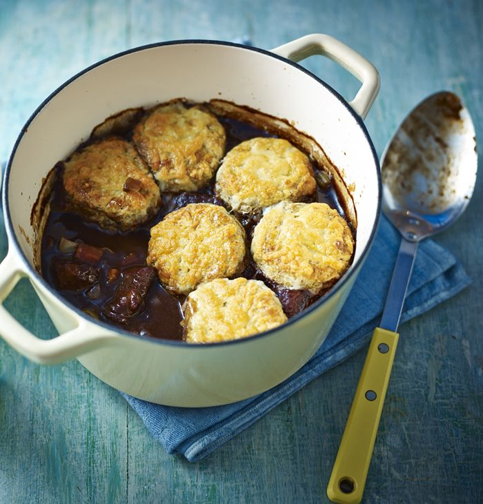 Enjoy the rich taste of tender beef stewed in red wine with a cheese scone topping