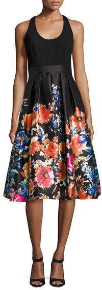 Carmen Marc Valvo Sleeveless Combo Floral Midi Cocktail Dress $123.00 http://shopstyle.it/l/zRYf