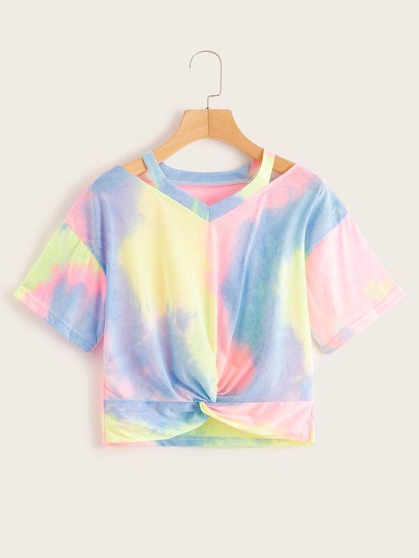 Tie Dye T-Shirts Multi-Color Kids Short Sleeve Summer Music Festival Tee Tops