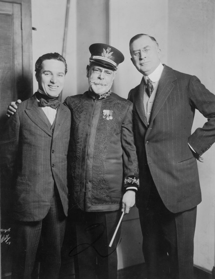 John P. Sousa, Charlie Chaplin, and Clifford Harmon, probably gathered for the concert where Chaplin conducted the Sousa band at the Hippodrome, New York City, 20th February 1916.