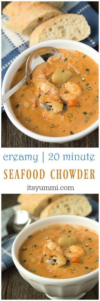 This creamy seafood chowder recipe begins with an easy-to-make homemade seafood stock. Potatoes, shrimp, crab, and lobster meat are added. via @itsyummi Added coconut milk instead of h/h and diy old bay seasoning.