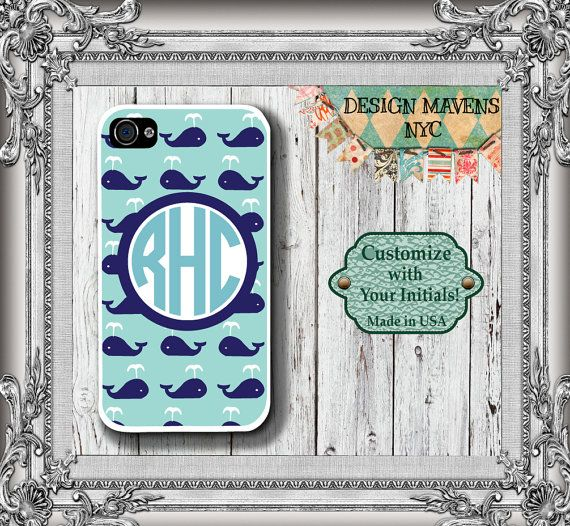 Personalized iPhone Case, Preppy Whale Monogram iPhone Case, Fits iPhone 4, iPhone 4s & iPhone 5, iPhone Cover, iPhone Case
