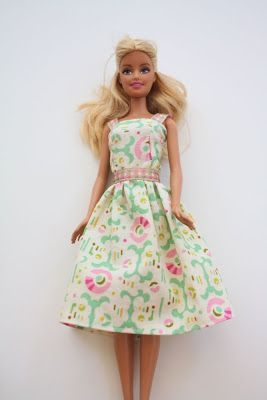 Simple sewing tutorial for a Barbie doll dress - just 2 rectangle of fabric, some velcro and optional ribbon | Craftiness Is Not Optional
