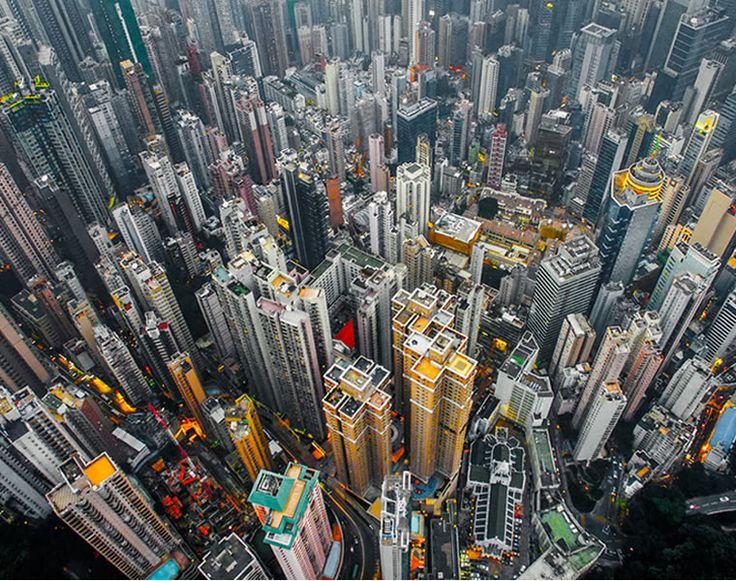 Hong Kong Vista desde el Cielo por un Drone