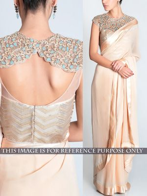 NEW LATEST BEIGE COLOR LYCRA SILK GEORGET EMBROIDERY WORK SAREE Bollywood Sarees Online on Shimply.com