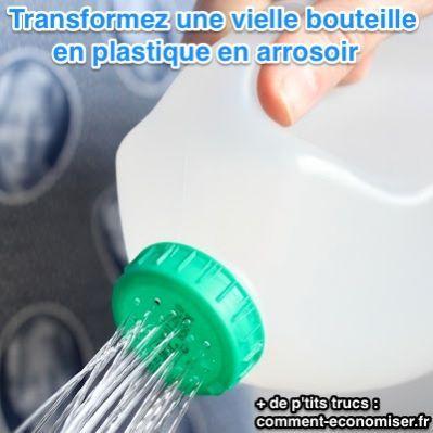Arrosoir pas cher fabriqué avec une bouteille en plastique