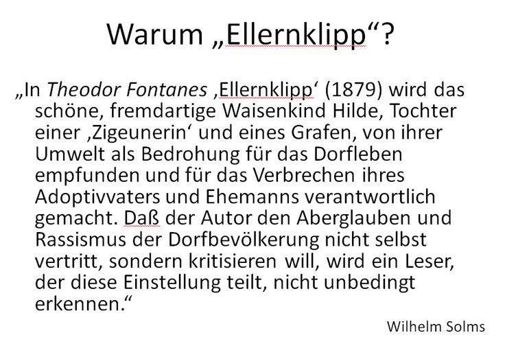 """Einige Folien/Fotos von einem Studenten-Referat in dem Seminar """"'Zigeuner'-Bilder"""", Universität Köln, WS 2014/15. Vorgestellt wird die Theodor Fontane-Novelle """"Ellernklipp"""" aus dem Jahr 1881 (Erstveröffentlichung)."""